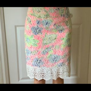 LUSH floral and lace skirt